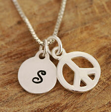 925 Sterling Silver Personalised Peace Sign Symbol Charm Necklace &Initial Boxed