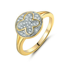 Butterfly Design White Topaz Crystal 18K Gold Platinum Filled Party Ring