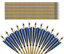 """30"""" BLUE TRADITIONAL SHIELD-FEATHER HUNTING WOODEN ARROWS FOR ARCHERY PRACTICE"""