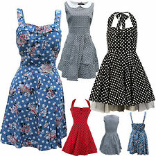 Polka dot dress party vintage floral womens pinup 50s rockabilly daisy size s 8