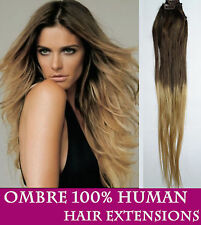 """20"""" Clip In ombre dip dye remy human hair extensions DIY UK"""