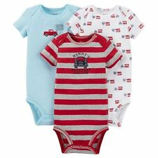 New Carter's 3 Pack Bodysuits Red Truck Double Bus NWT 6 12 18 24m Just One You