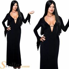 Ladies MORTICIA ADDAMS Family Halloween Sexy Witch 90s Fancy Dress Costume + Wig