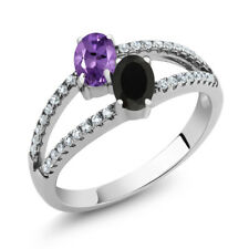 1.15 Ct Oval Purple Amethyst Black Onyx Two Stone 925 Sterling Silver Ring