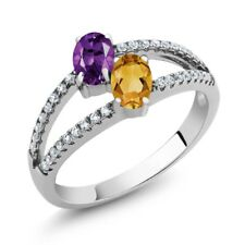 1.16 Ct Oval Purple Amethyst Yellow Citrine Two Stone 925 Sterling Silver Ring