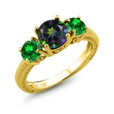 2.98 Ct Green Mystic Topaz Simulated Emerald 18K Yellow Gold Plated Silver Ring