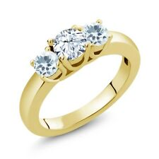 0.94 Ct Round White Topaz Sky Blue Aquamarine 18K Yellow Gold Plated Silver Ring
