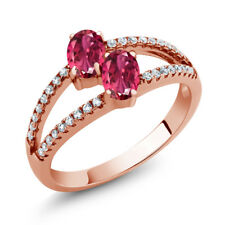 1.41 Ct Oval Pink Tourmaline Two Stone 18K Rose Gold Plated Silver Ring