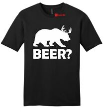 Beer Deer Bear Funny Mens Soft Cotton T Shirt Hunting Guns Beer Party Tee Z2