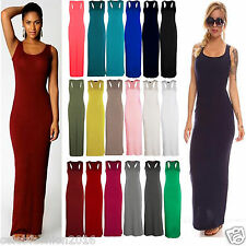 WOMENS LADIES  MUSCLE BACK RACER  MAXI JERSEY LONG VEST SUMMER DRESS  SIZES 8-26