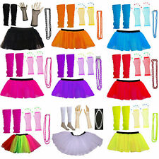 Ladies Tutu Skirt Gloves Leg Warmers Beads 1980's Party Hen Night Party Costume
