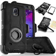 For Samsung Galaxy iPhone Cell Rugged Hybrid Hard Case Cover + Belt Clip Holster