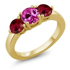 2.20 Ct Pink Created Sapphire & Created Ruby 18K Yellow Gold Plated Silver Ring