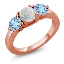 1.55 Ct Round Cabochon White Opal & Aquamarine 18K Rose Gold Plated Silver Ring