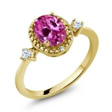 1.76 Ct Oval Pink and White Created Sapphire 18K Yellow Gold Plated Silver Ring