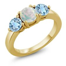1.55 Ct Cabochon White Opal and Aquamarine 18K Yellow Gold Plated Silver Ring