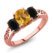 2.03 Ct Oval Checkerboard Citrine Black Onyx 18K Rose Gold Plated Silver Ring