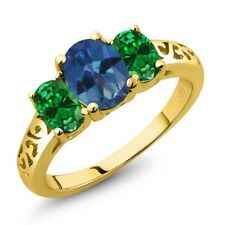 2.00 Ct Mystic Topaz Simulated Emerald 18K Yellow Gold Plated Silver Ring