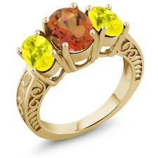 3.40 Ct Mystic Quartz Canary Mystic Topaz 18K Yellow Gold Plated Silver Ring