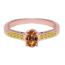 1.45 Ct Mystic Topaz Yellow Created Sapphire 18K Rose Gold Plated Silver Ring