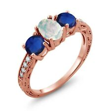 1.95 Ct Cabochon White Opal Simulated Sapphire 18K Rose Gold Plated Silver Ring