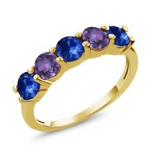 1.02 Ct Blue Sapphire Amethyst 18K Yellow Gold Plated Silver Wedding Band Ring