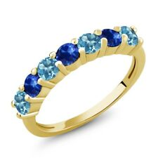 1.52 Ct Round Swiss Blue Topaz Blue Sapphire 18K Yellow Gold Plated Silver Ring