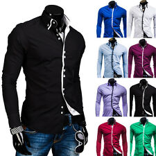 Spring Mens Luxury  Stylish Slim Fit Long Sleeve Casual Dress Casual Shirts Tops
