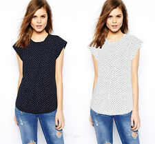 Fashion Womens Short Sleeve Tops Print Summer Chiffon Polka Dot Shirt Blouse New