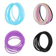 10pcs Silicone Rubber Elastic Bracelet Bangles Hair Ropes Link Ponytail Ties