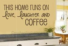 This Home Runs On Love Laughter Coffee Vinyl Decal Wall Sticker Words Letters