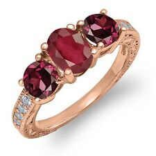2.32 Ct African Red Ruby Red Rhodolite Garnet 18K Rose Gold Plated Silver Ring