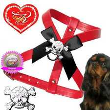 Dog Chihuahua Puppies Chest Harness Rhinestone Faux leather Red Skull XXS-M O6