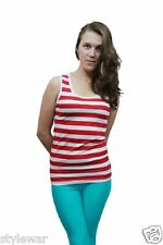 Womens Red And White Striped Vest Top Ladies Stripy Tops Fancy Book Week Dress