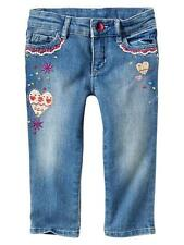 Baby GAP Embroidered Hearts Skinny Jeans Fairest Isle Valentine 2T 3T 2 3 NWT$35
