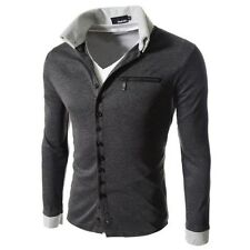Fashion Mens Casual Slim Fit Sport Long Sleeve Jecket  Button T-Shirt  Shirt