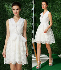 Women's Sweet Dresses Embroidered flowers Ladies Sleeveless White lace dress