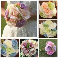 Artificial Silk Rose Hydrangea Bridal Bridemaid Flower Bouquet Wedding Decor