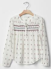 GAP Kids Girls Embroidered Smocked Peasant Blouse Shirt Top S L 6 7 10 NWT $35