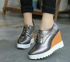 New Womens Preppy Wedge Heel Creeper Oxfords Shoes Lace Up Platform Shoes 006