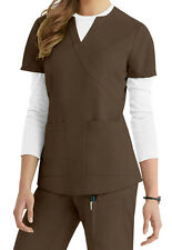 Barco NRG 3119 Women's 2-pocket Mock-Wrap Scrub Top (Espresso)