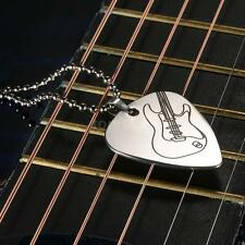 Engraved Stainless Steel Guitar Pick Necklace with 50cm/20in Ball Chain W6L1