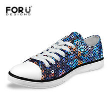Trendy Womens Comfort Low Top Canvas Sneakers Ladies Flat Lace Up Walking Shoes