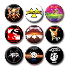 MEGADETH - METALLICA - ANTHRAX CD Covers Buttons Pins (29 Different Models)