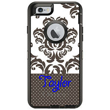 Monogram OtterBox Defender for iPhone 6 6S Plus Grey White Damask Dots Blue