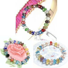 Faceted Multicolor Beads Woman Bracelet Crystal Loose Stretch Bangle Fashion