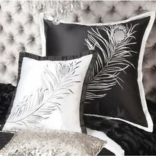 New Private Collection Peacock Feather European Size Pillowcase Black or Ivory
