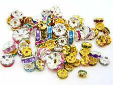 Mixed Colour & Mixed Size Rhinestone Spacer Beads Gold & Silver Plated ML