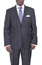 Ideal Slim Fit Charcoal Gray Two Button Super 140's Wool Suit