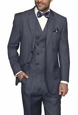 Mens Indigo Blue Plaid Three Piece Two Button Wool Suit
